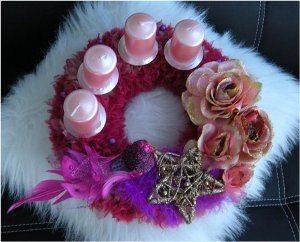ružový adventný veniec