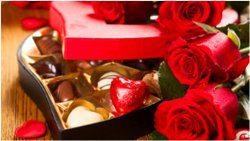 valetnínský darček a čokoláda