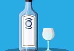černicový gin flaška