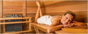 ležanie a sedenie v saune