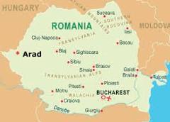 mapa Rumunska s mestom Arad