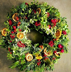 prírodný vianočný veniec